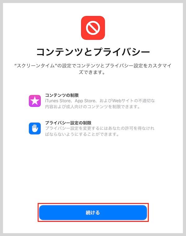 iPadコンテンツとプライバシー